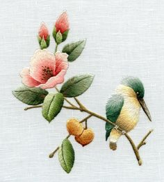 miniature needle painting embroidery: vintage portraits, florals & birds redoute's finest flowers in embroidery Chinese Embroidery, Brazilian Embroidery, Silk Ribbon Embroidery, Crewel Embroidery, Hand Embroidery Designs, Embroidery Thread, Cross Stitch Embroidery, Embroidery Patterns, Embroidery Online