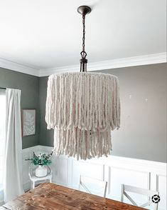 """Upcycle your chandelier with yarn! Get all the details in the """"Chandi DIY"""" highlight! Boho Diy, Highlight, Upcycle, Dining Room, Chandelier, Blog, Home Decor, Hi Lights, Dinner Room"""