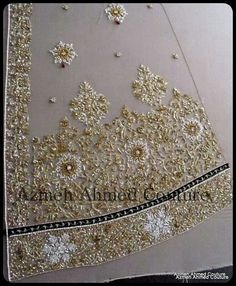 I love the way heavily-beaded gowns look. The texture, the way the weight changes the way a garment moves, the sheen, the sparkle. Every time I post an example or run across another one I always as… Bullion Embroidery, Tambour Embroidery, Bead Embroidery Patterns, Gold Embroidery, Embroidery Designs, Couture Embroidery, Couture Beading, Hand Work Design, Tambour Beading