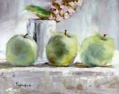 venezia art studio: still life oil painting with green apples, white cup and white flowers