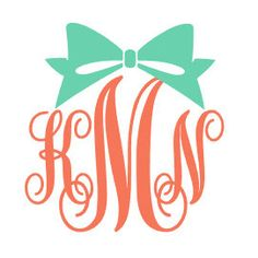 Bow Monogram Car Decal Sticker by houseofminedesigns on Etsy https://www.etsy.com/listing/220233876/bow-monogram-car-decal-sticker