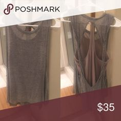 Free People Double Layer Tank Free People double layered tank. The top layer is grey with two twists in the back and the under layer is a beige/tan halter style tank. Wear it down with leggings or dress it up with jeans and ankle boots! 👌🏻 Free People Tops Tank Tops
