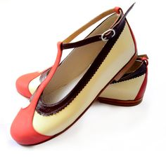 Flat leather shoes in red by QuieroJune on Etsy, $175.00