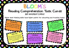 FREE FOR 24 HOURS: 60 Bloom's Taxonomy Reading Comprehension Task Cards. Each card has a different task and each type of question is allocated different points depending on the type of thinking required.  12x Knowledge Cards (orange- 2 points) 12 x Comprehension cards (blue- 2 points) 12 x Application cards (green- 3 points) 8 x Analysis cards (yellow- 4 points 8 x Synthesis cards (purple- 5 points) 8 x Evaluation cards (pink- 6 cards) Free for a limited time