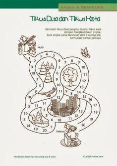 belajar hitung anak TK, angka 1-20, permainan gambar maze (labirin)