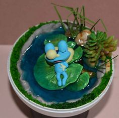 Sleeping Froggie Diorama Pokeball Pokemon Terrarium with