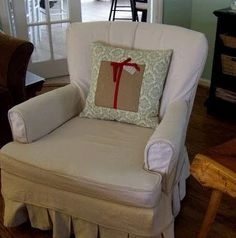 drop cloth slipcover with pleats
