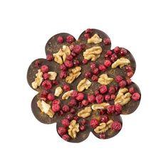 CZEKOLADA GORZKA Z ORZECHAMI Do wykwintnej gorzkiej tabliczki czekolady w kształcie wiosennego kwiatka dołożyliśmy włoskie orzechy, czerwoną porzeczkę i posypaliśmy pikantnym chili.
