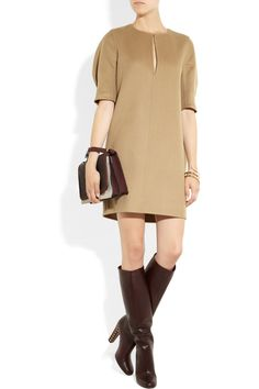 Yves Saint Laurent|Cashmere-felt dress with: Chloé cuff, Gucci boots, Victoria Beckham bag.
