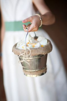 rustic flower girl dresses | the flower girl basket complete with burlap and twine details.