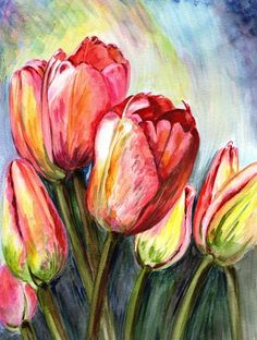 Tulips Painting - High In The Sky by Harsh Malik