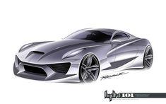 Supercar design sketch by Gary Ragle - Car Body Design