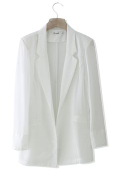 You can get this white chiffon blazer from Chicwish for your monotone look.