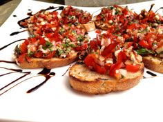 Fresh Bruschetta on grilled bread with Balsamic Reduction