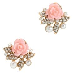 Aeropostale Rose Bling Stud Earrings ($5) ❤ liked on Polyvore featuring jewelry, earrings, brincos, oxford pink, rhinestone earrings, aéropostale, rhinestone jewelry, pink rose earrings and pink earrings