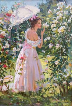 Alexander Averin Figurative Painting - Day Oil On Canvas French Style Post-Impressionist Romantic Paintings, French Paintings, Beautiful Paintings, Victorian Paintings, Victorian Art, Photographie Portrait Inspiration, Renaissance Kunst, Impressionist Paintings, Degas Paintings