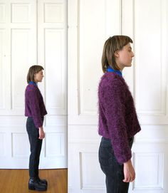 Vtg 90s Cropped Fuzzy Knit Sweater / by AndVintageClothing on Etsy, $36.00