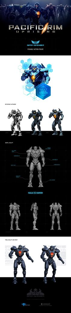 From concept to action figure: Gipsy Avenger from Pacific Rim Uprising. Figure by DIamond Select Toys.
