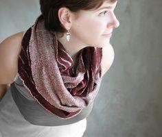 Felted maroon scarf wool neck warmer cotton by AureliaFeltStudio,