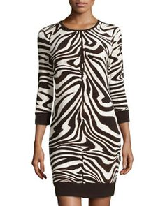 T8G4N MICHAEL Michael Kors Zebra-Print Sweater Dress, Ecru/Combo