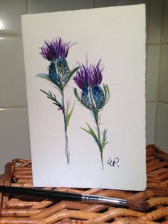 Thistle Watercolor Card