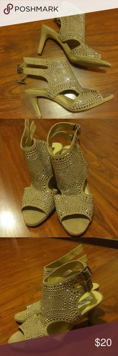 INC Sparkly Heels Taupe beige 3 inch heels with tiny silver bronze studs. So sparkly and BEAUTIFUL! I wore once (all day) for my son's wedding. They have 2 straps. Comfortable to ware. INC International Concepts Shoes Heels