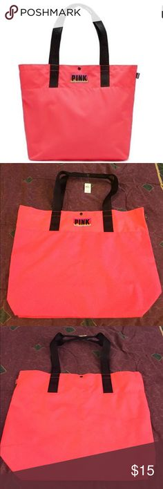 """NEW VS PINK TOTE BAG New VS PINK tote bag.. color: bright neon coral..handles are black..snap closure..pocket inside..dimensions: 16"""" x 14.5"""" x 5.5""""..great for the beach..brand new with tags..refer to pics..I have 2 of these bags available..$15 EACH! PINK Victoria's Secret Bags Totes"""
