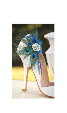 Wedding Peacock Feather Shoe Clips, Navy & Rhinestone Engagement Accessory, Date Night Out Party, Best Seller Bridal Gift Guide Idea for Her - pinned by pin4etsy.com