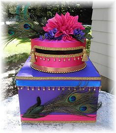 Indian Hindu Wedding Card Money Box PEACOCK Feathers  Beads Tassels CUSTOMIZE Your Colors on Etsy, $115.00