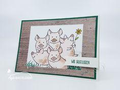 Rudel Dreckschweinchen gratuliert | Anja-Basteleien.de - Anja Pfannstiel