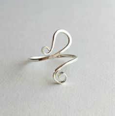 Sterling Silver Paisley Ring Adjustable Wire by BellaAnelaJewelry, $28.00