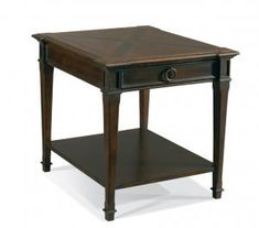 583-21 Anderson End Table Carmel W24 D28 H25 in. Rubberwood Solids Maple & Walnut Burl Veneers Medium Distressing One drawer, wood bottom shelf.  Shown in ?Selected Finish: #J1 Palermo  View Custom Finishes