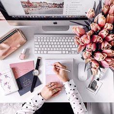 Home office decor desk pink Ideas