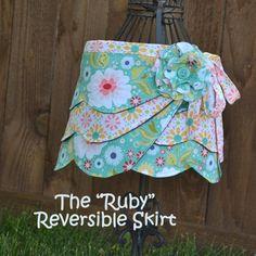 Reversible Wrap Skirt, Girl PDF Sewing Pattern, Fabric Flower Pattern
