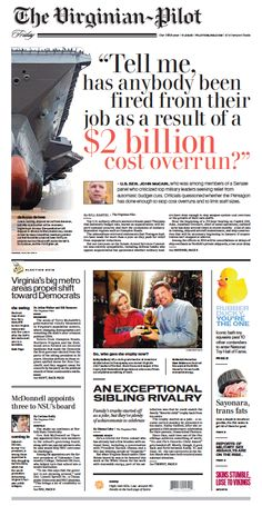 The Virginian-Pilot's front page for Friday, Nov. 8, 2013. #Newspaper #page #design
