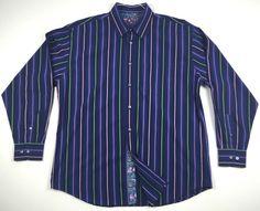 BUGATCHI UOMO Men's Button-Front Long Sleeve Dress Shirt Size XL Flip Cuff Blue #BugatchiUomo #ButtonFront