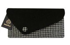 Harris Tweed Assymetric Black & Houndstooth Clutch Bag