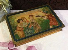 Beautiful Vintage Italian Tin Box Confection Candy or Biscuit Tin Children Lute