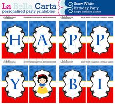 Snow White Personalised Happy Birthday Banner, Snow White Birthday, Printable Party, DIY Party, Girls Printable Party.