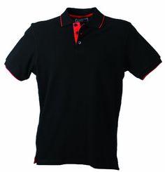 James & Nicholson Herren Polo Campus, black red, XL, JN147 blrd