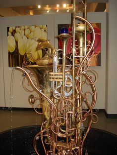 funky fountain made of brass instruments