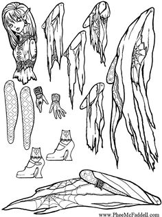 Falicious Halloween Puppet Coloring Page Fairy Crafts, Doll Crafts, Diy Doll, Coloring Pages To Print, Printable Coloring Pages, Coloring Books, Paper Puppets, Paper Toys, Paper Art