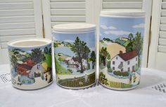Vintage Ceramic Canister Set of 3 Pfaltzgraff for by PanchosPorch
