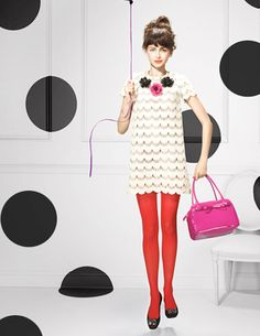 colour combination: Polka dots, red white and pink