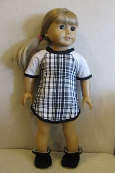 Black Plaid Nightie and Booties 18 in doll by HenryStreetDolls