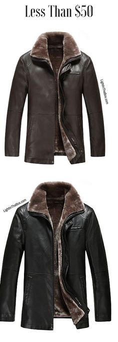 bb32f7b548a   69.43  Men s Daily Simple   Casual Fall   Winter Regular Leather Jacket
