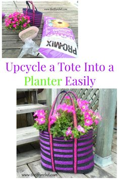 Upcycle a tote into a planter easily with this how to