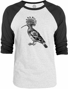 Big Texas Crowned Hoopoe Bird 3/4-Sleeve Raglan Baseball T-Shirt