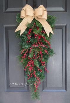 Red Holly Berry Christmas Teardrop Pine Wreath with Burlap Bow, Green Swag Fall Autumn Christmas Winter, Holiday, Christmas Decorations