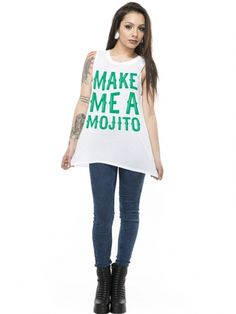 """Women's """"Make Me A Mojito"""" Muscle Tee by Social Decay (White) #inkedshop #Mojito #drinking #alcohol #shirt"""